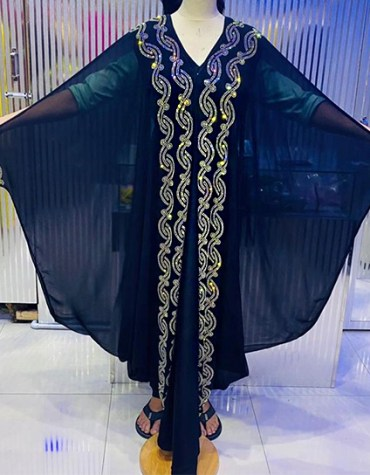 African Attire Golden Rhinestones African Abaya Dresses for Women's Party Wear For Women
