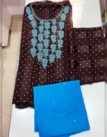 New Designer African Satin Silk Rhinestone Beaded Dress Material for Women