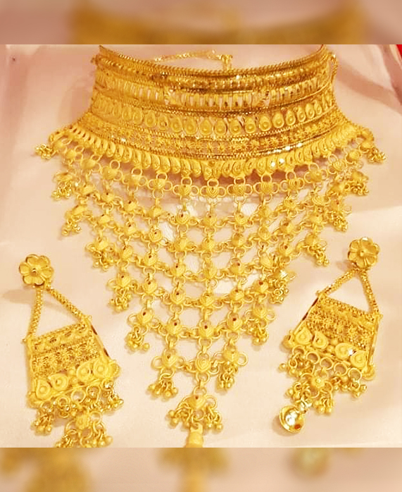 New Fashionable Unique Trendy Party Wear Necklace Gold Platted Jewelry Set for Women