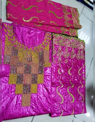 Latest Party Wear 100% Super Magnum Gold Getzner Bazin Dress Material For Women