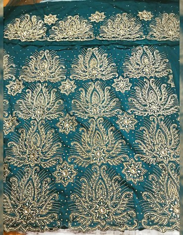Designer Stylist Heavy Beaded Wedding Dress Material Silk Nigerian George Wrapper