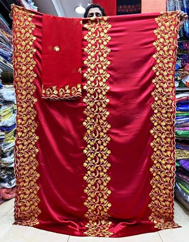 Latest Premium Designer African Fully Embroidery Satin Silk Dress Material For Women
