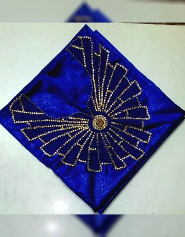African Attire Golden Beads Satin Slik Wedding Dress Material For Women