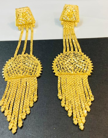 2 Gram Gold African Formal Latest Wedding Party Wear Earrings for Women