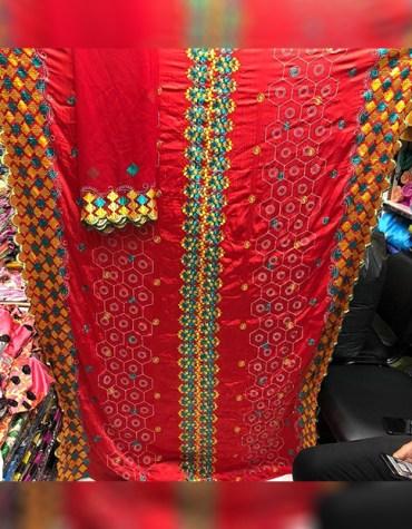 Latest African Satin Silk Formal Wear Embroidery Design Dress Materials For Women