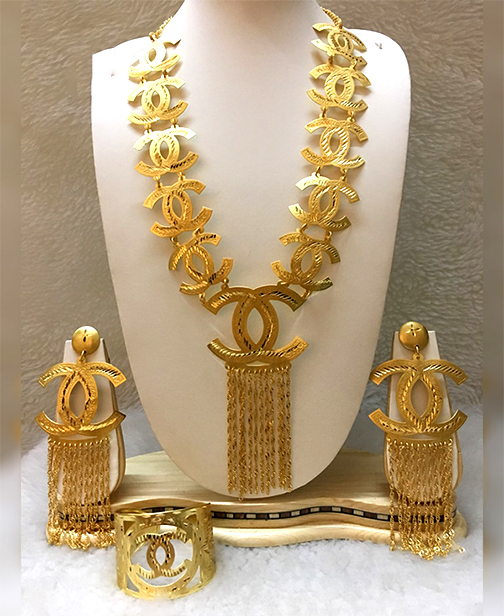 Trendy 2020 African Party Gold Platted Necklace & Earrings Jewelry Set For Women