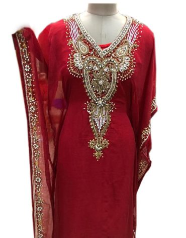 African Attire kaftan with Crystal Stone Work Material For Women