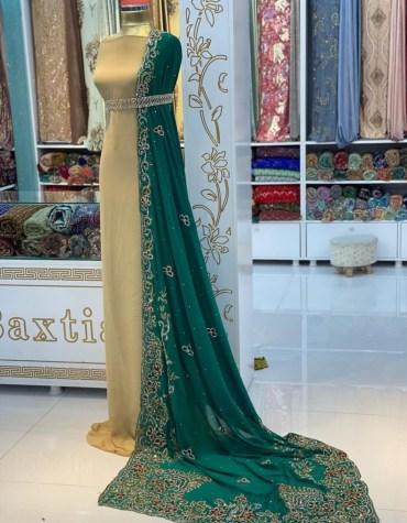 African Attire Wedding Beaded Designer Abaya Material for Bridesmaid Dresses For Women