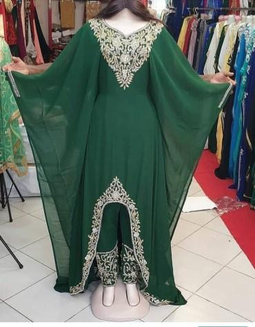 African 2 piece Chiffon Dress For Women Evening Gowns Stone Work Kaftan
