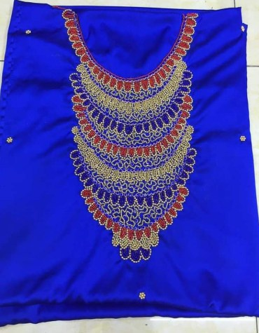 African Attire Formal Parties Seed Bead Work Satin Silk Dress Material For Women