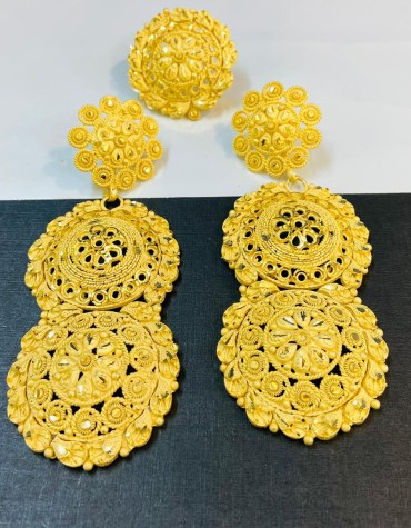 African Fancy & Latest 2 Gram Gold Wedding Party Wear Earrings for Women