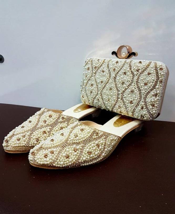 African Golden Beaded Handbag & Pearl Shoe Combo Pack For Women Wear Wedding