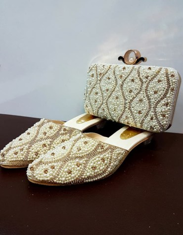 African Golden Beaded Handbag & Pearl Shoe Combo Pack For Women Wear Wedding