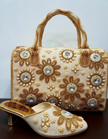 African handbags Golden & Silver Crystal Stone & Pearl Designer Shoes for Party