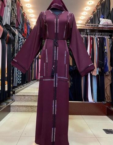 African Stylist Abaya Dress Party Wear Nida Fabric Rhinestone Work For Women