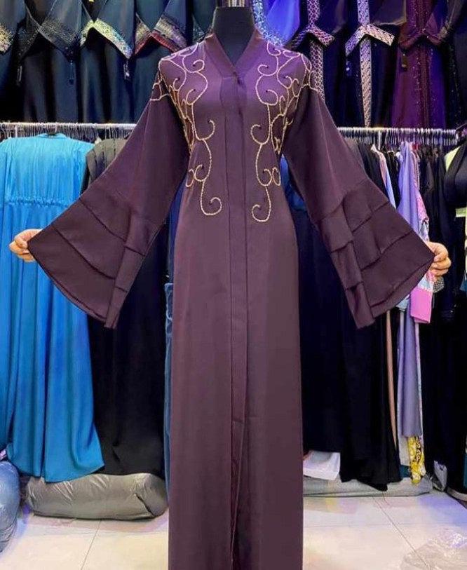 African Abaya Bell Sleeves Wedding Wear Nida Fabric Seed Bead Work For Women