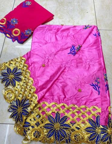 African 100% Super Magnum Gold Riche Bazin Beaded Dress Material For Women