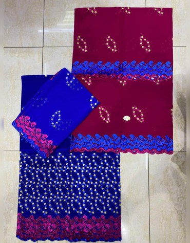 African Swiss Voile Satin 3 Piece Embroidery Work Dress Material For Women