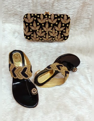 African Latest Stone Beaded Evening Handbag And Pearl Shoe Pack For Women