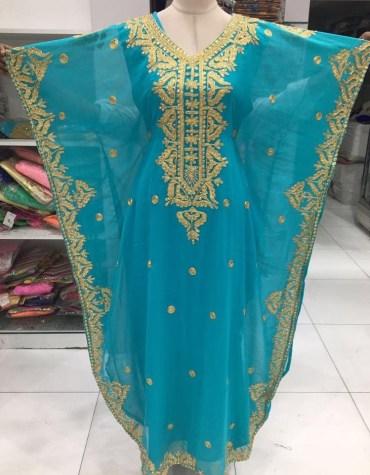 New African Golden Stone Work Chiffon Kaftan Party Wear Dresses For Women