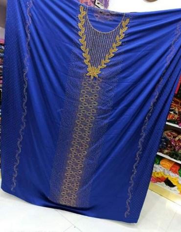 African New Satin Silk Dress Material Rhinestone Beaded Work Dresses for Women