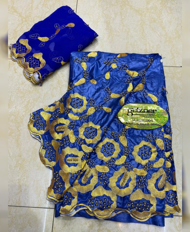 African Latest 100% Super Magnum Gold Riche Bazin With Embroidery Dress Material