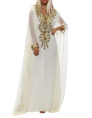 New Elegant African Golden Embroidery Work Chiffon Kaftan Dresses For Women