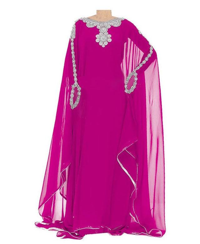 African Attire Beaded Long Sleeve Pink Modest Kaftan Dresses For Women Dubai