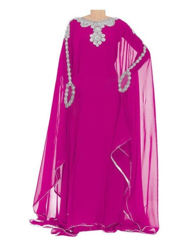 African Attire Beaded Long Sleeve Pink Modest Kaftan Dresses For Women Dubai