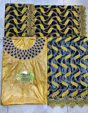 African 100% Super Magnum Gold Beaded Riche Bazin Embroidery With Stone Work
