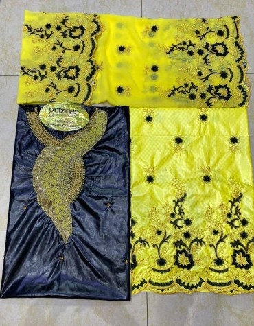 African Embroidery 100% Super Magnum Gold Riche Bazin Women Dress Material