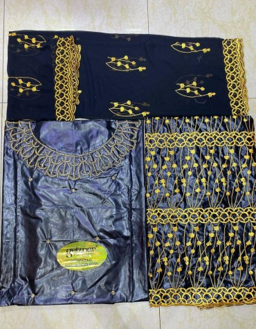 African 100% Super Magnum Gold Riche Bazin Embroidery Work Women Dress Material