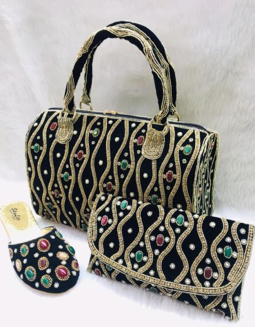 African Golden Beaded Work & Color Stone Handbag With Clutch Bag & Pearl Shoe