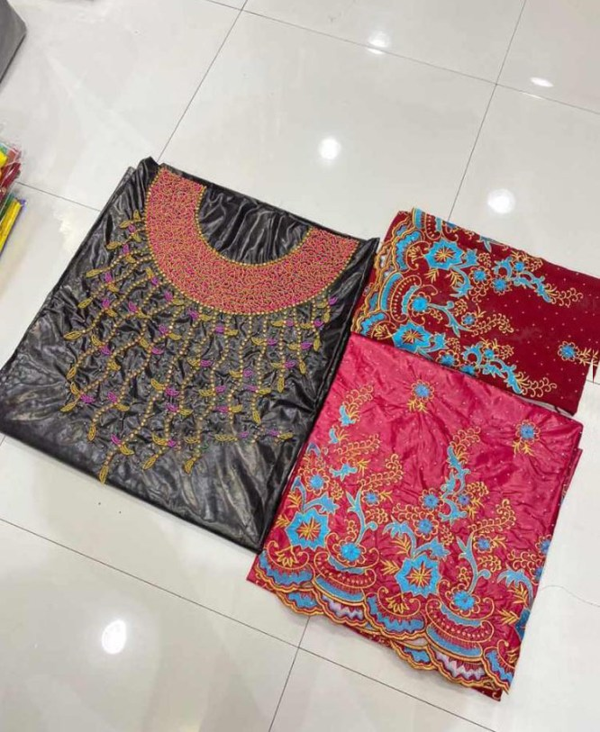 African Golden Embroidery Beaded Premium Satin Silk Dress Material For Women