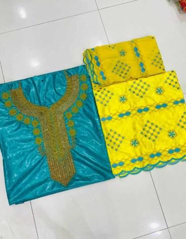 African Golden Beads 100% Super Magnum Gold Getzner Riche Bazin Dress Material
