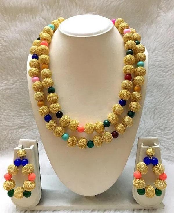 African Beautiful Party Wear Seed Bead Jewellery Necklace & Earrings For Women