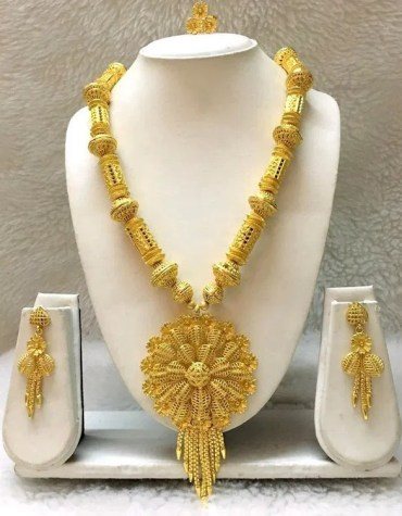 African Party Wear Gold Pendant Necklace With Earrings Jewellery Set For Women