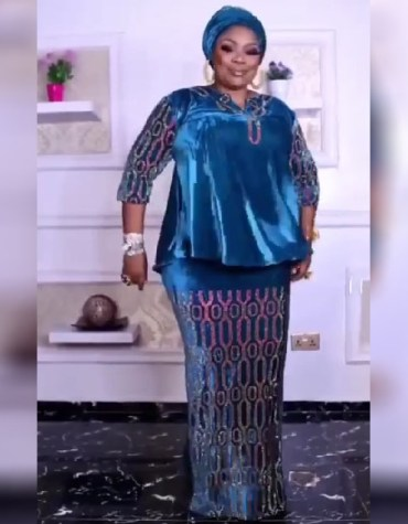 African Attire Sleeve Rhinestone Velvet Kaftan Dresses Party Wear for Women