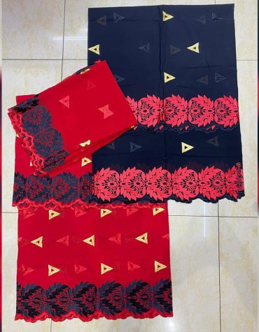 African Swiss Voile Cotton Satin 3 Piece Embroidery Dress Material For Women