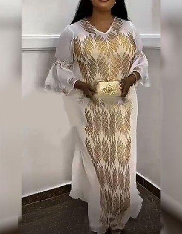 African Designer Party Wear Rhinestone Work White Chiffon Kaftan For Women