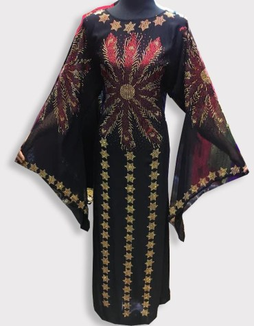 African Long Sleeve With Million Rhinestones Hand Work For Women Moroccan Party Wear Dubai Abaya