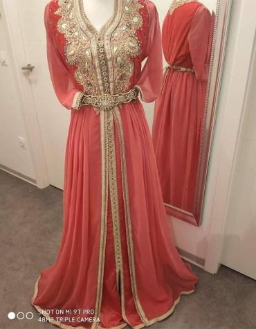 Elegant Formal Maxi Gown Gold Beaded Plus Size Fancy Kaftan Dresses for Women's Party