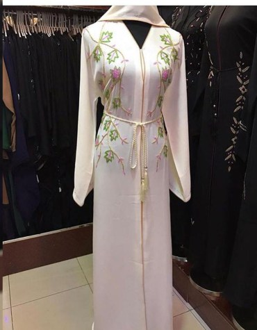 Classic Attire Formal Abaya With Embroidery And Long Sleeve Moroccan Dubai For Women