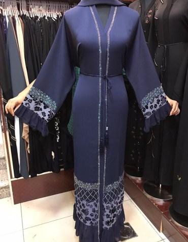 African Fancy Long Sleeve With Silver Embroidery And Beaded Rhinestones Dubai Abaya Kaftan
