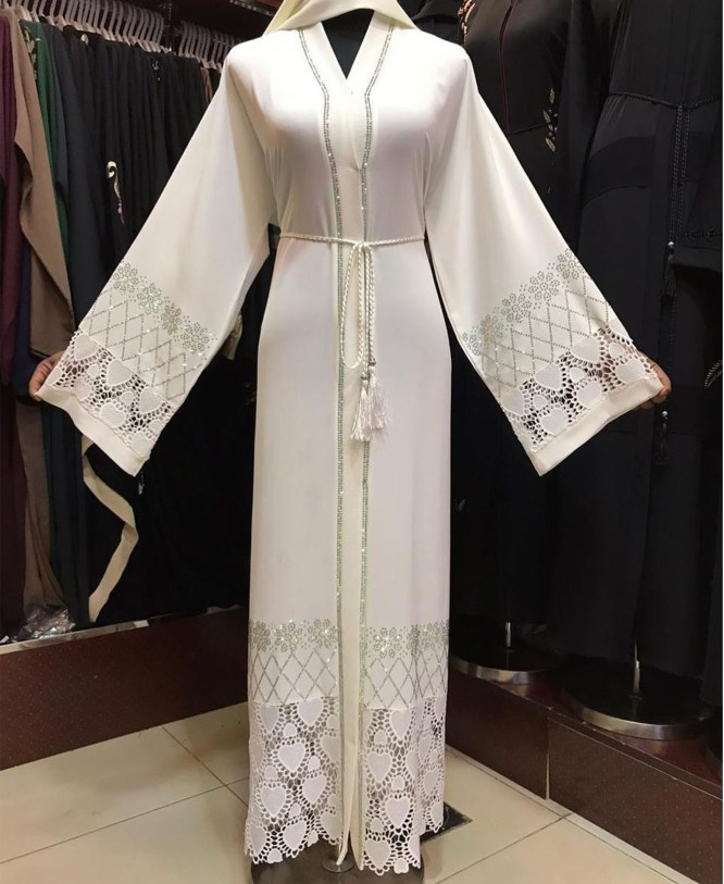 African Fancy Long Sleeve With Silver Embroidery And Sleek Design Moroccan For Women Abaya