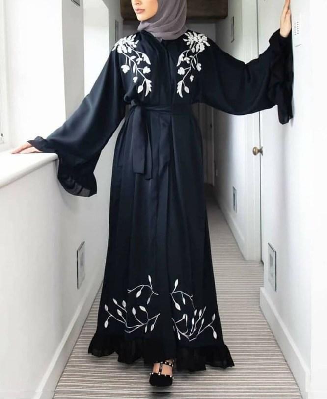 Ladies Designer Soft Nida Fabric Robe Style Long Sleeve Dubai Abaya For Women