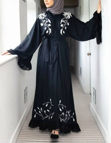 Ladies Designer Soft Nida Fabric Robe Style Long Sleeve Dubai Abaya For Women