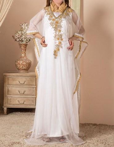 New Elegant African Attire Golden Embroidery Work Chiffon Kaftan Dresses For Women