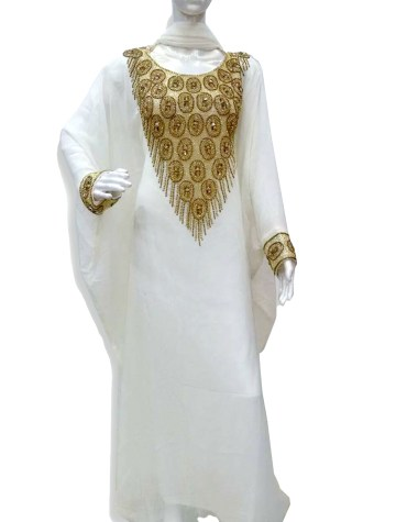 Trendy African Attire Gold Beaded Kaftan For Women Clothing Formal Evening Dress