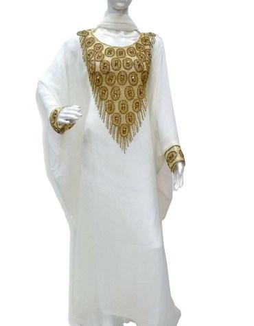 Trendy African Attire Gold Beaded Kaftan For Women Clothing Formal Evening Dress